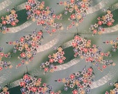 Oichi San by Peter Pan Fabrics - Colorful Blossoms on Green - Cotton Quilt Fabric By the Yard