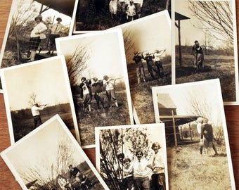 Antique Photograph Lot - Learning to Shoot photos - Old Snapshot Hunting Photo lot - Black & White Photography