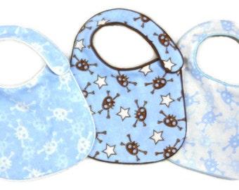 Boys Baby Bibs Blue Skulls and Crossbones - set of 3 bibs