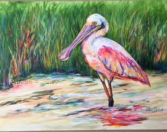 "ROSEATE SPOONBILL **  11"" x17"" Print of Original Acrylic on Canvas"