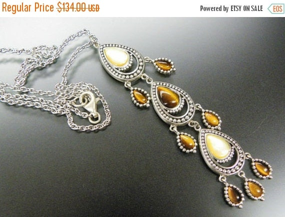 Holiday Christmas SALE Stunning Tigers Eye Mother of Pearl Sterling Silver Vintage Drop Necklace