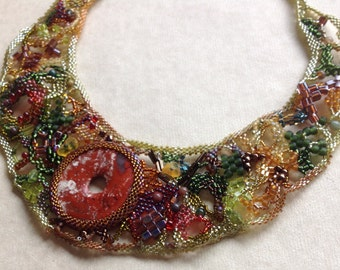 Vermont - green, yellow and red pendant freeform peyote seed beaded necklace. Prom, wedding, special occasion. Gothic wedding jewelry