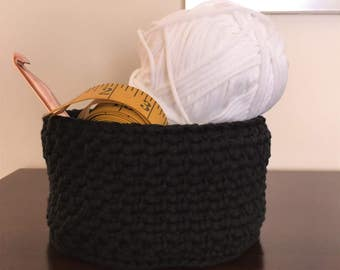 Crochet Basket Crochet Bowl Catchall in Black