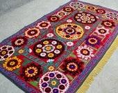 Gorgeous Suzani rug, Suzani embroidery, Uzbek suzani, Silk Suzani, wall hanging, suzani, sofa cover, upholstery suzani, oriental suzani