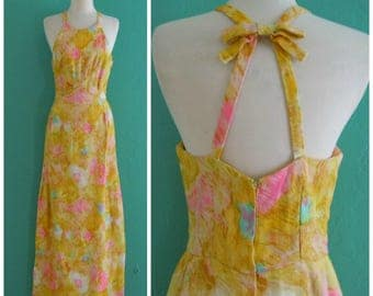 50's yellow  floral maxi dress // watercolor print maxi dress ~ small medium