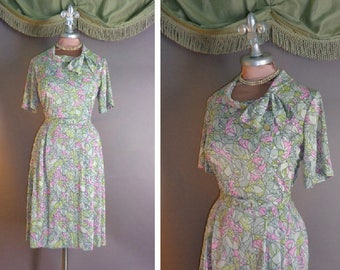 50s dress 1960s vintage PINK STAINED GLASS gray pale chartreuse print nylon jersey dress