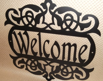Welcome Sign. Wall art. Outdoor sign. Housewarming Gift. Wall decor. Front door. House sign. Metal Art. Flat Black Texture Powder Coated