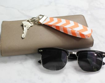 Key Fob Wristlet, Key Chain, Lanyard / Coworker Gift, New Home Gift, Keychain Favor, Christmas Stocking / Orange and White Chevron Key Chain