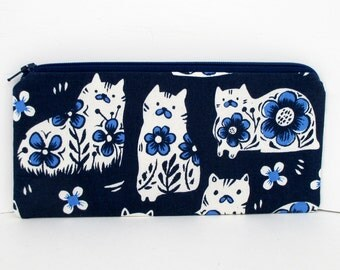 Zippered Pencil Pouch, Antique Shop Cats in Navy Blue, Cotton and Steel Fabric