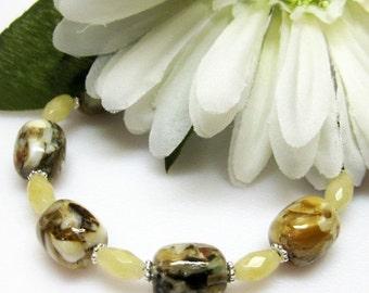 40% off Tan Brown Bracelet - Glass Bracelet - Multi Color Bracelet - Gemstone Bracelet - Womens Jewelry - Handmade
