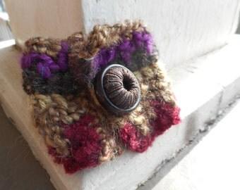 The Sarsaparilla Crocheted Boho Cuff Bracelet handmade with wool, alpaca, acrylic, and bamboo yarns in earthen colors OOAK Bohemian festival
