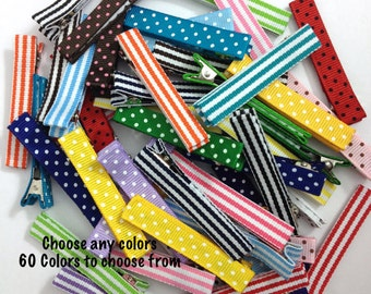 50 LARGE Dots & Stripes Lined Alligator Clips, 57mm Single Prong, No Slip Hair Clips, Large Hair Clips, Fully Lined, Partially Lined Clips