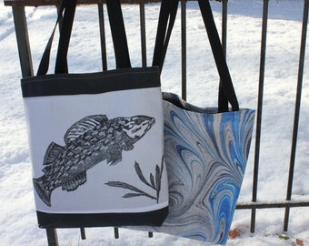 Fish or Marbled or Angelica Print Tote Bag
