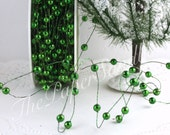 "Wired Beads, Green Wired Beads, 1/8"" wide by the yard, Christmas Ribbon, Crafts, Wreaths, Gift Wrapping, Green Bead Trim, Party Supplies"