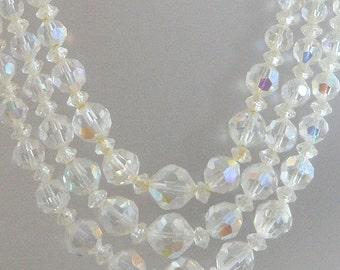CHRISTMAS SALE Vintage Austrian Crystal Necklace.  Clear.  Wedding.  Bridal.