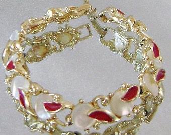 ON SALE Vintage Bracelet Mother of Pearl and Red Enamel