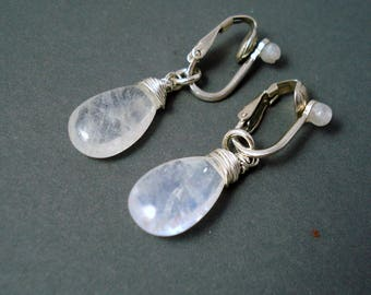 Moonstone Earrings, Clip On Moonstone Large Briolettes with Sterling Silver