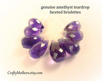 Take 15% off with 15OFF20, African AMETHYST Teardrop Briolettes, Set of 8 pieces, 8-11mm long, Purple Violet Gemstone