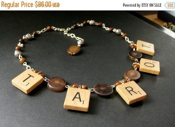HOLIDAY SALE Tarot Necklace. Scrabble Tile Necklace. Petrified Wood Necklace. Beaded Necklace. Scrabble Necklace. Handmade Necklace. Handmad