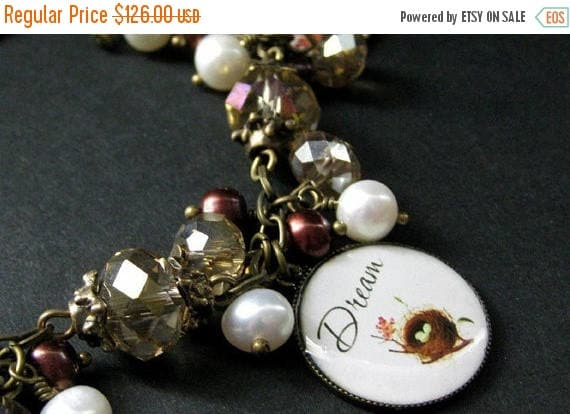 MOTHERS DAY SALE Bird Nest Charm Bracelet in Fresh Water Pearl, Taupe Crystals and Bronze. Handmade Bracelet.