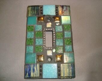 MOSAIC Light Switch Plate -  Single Switch, Wall Art, Wall Plate, Shades of Green, Gold