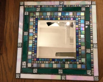 Mosaic MIRROR, Wall Art, Teal, Iridescent White, Silver, Blue, Black, Gray