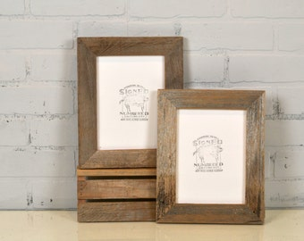 "6x8 inch Picture Frame in 1.5"" Wide Rustic Natural Reclaimed Cedar Fence Wood - IN STOCK - Same Day Shipping 6 x 8 Frame"