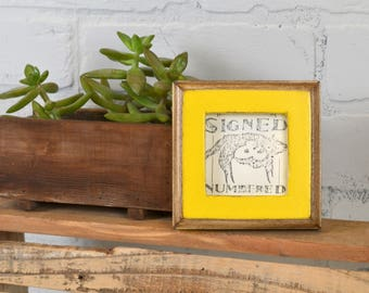 "2.75 x 2.75"" Square Picture Frame in 1x1 2-Tone Style with Vintage Yellow Finish - IN STOCK - Same Day Shipping - Small Baby Photo Frame"