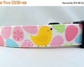 ON SALE Easter Egg Hunt with Chicks Polka Dot Glitter Pastel Easter Dog Collar