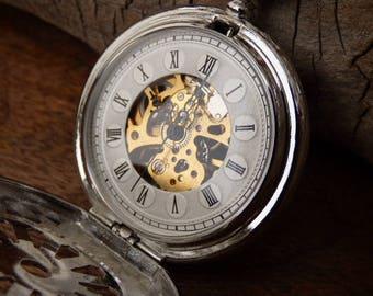 Luxury Silver Pocket Watch, Mechanical Pocket Watch Chain, Engraved, Mens Watch, Wedding Groomsmen Gift - Watch - Item MPW771