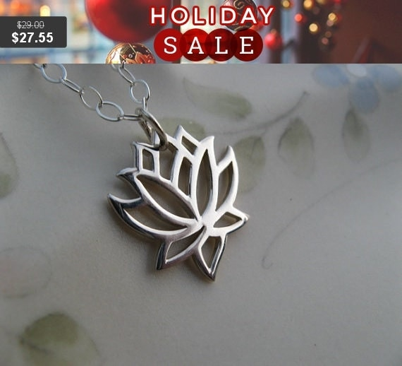 SALE - Silver Lotus Flower Necklace - Sterling Silver Lotus Necklace - Yoga Jewelry - Lotus Flower Symbolizes Enlightenment