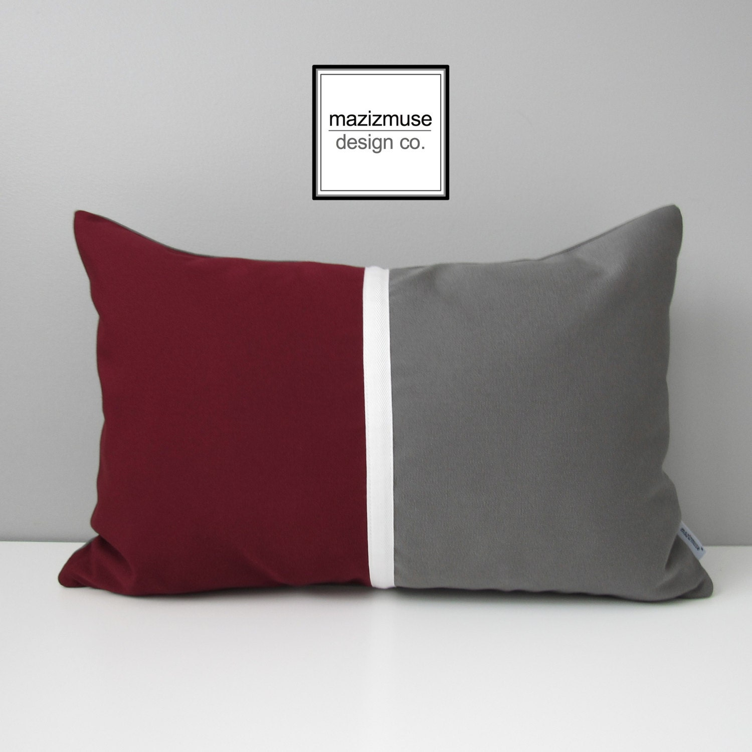 Burgundy & Grey Pillow Cover Modern Outdoor Pillow Cover