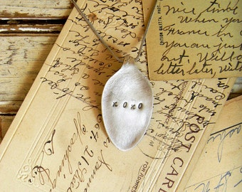 Spoon Necklace, Stamped Spoon XOXO Stamped Spoon Jewelry, Silver Spoon Pendant, Valentine's Day Gift, Valentine Necklace, Girls Necklace