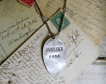 """Spoon Necklace, Stamped Spoon Necklace """"Blessed Mama"""" Mothers Day Gift, Spoon Pendant, Spoon Jewelry Re Purposed Silverware, Vinatge Silver"""