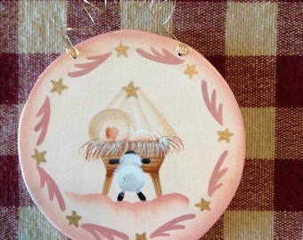 Hand Painted First Christmas Girl Round Wood Christmas Ornament