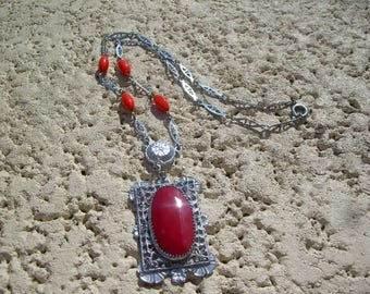Vintage Filigree Ornate Necklace featuring orangish beads, and gorgeous red stone in center of pendant