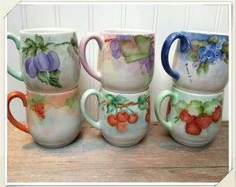 GORGEOUS hand painted 1960s Tea Cup Mugs Set of Six