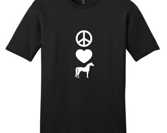 Peace Love Horses - Funny Farm Animal T-Shirt
