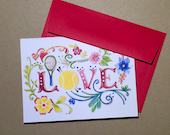 """Tennis """"LOVE"""" Folded Blank Note cards Set of 4 cards with envelopes"""