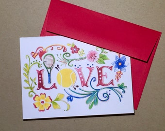 "Tennis ""LOVE"" Folded Blank Note cards Set of 4 cards with envelopes"