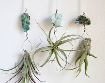 Hanging Air Planter, Boho Style Chrysocolla Crystal Airplant Display, Wire Wrapped With / Without Plant, Turquoise Color, Gift for A Goddess