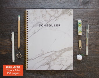 White Marble Scheduler / 1 Year / Full-size / Custom Time Schedule