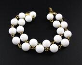 Napier White Bead Bracelet, White Bracelet, Double Strand Bracelet, Beaded Bracelet, Summer Bracelet