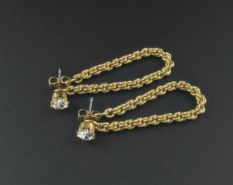Avon Chain Earrings, Faux Diamond Earrings, Diamond Stud Earrings, Gold Earrings