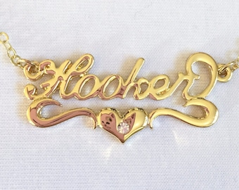 Hooker Heart Nameplate Necklace in Gold