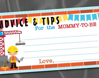 10 Mommy To Be Advice Cards, Party Activity Game Cards, Baby Shower Game, Construction Worker, Building Crane, Tools, Red, Yellow, Blue