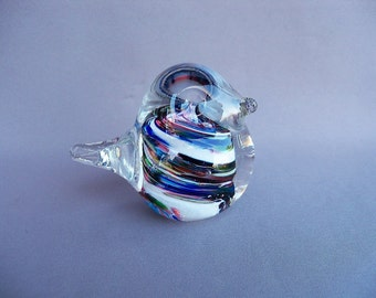 Hand Blown Art Glass Multicolored Bird
