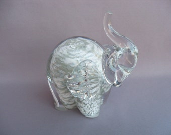 Hand Blown  Art Glass Elephant Figurine - White and Grey Color