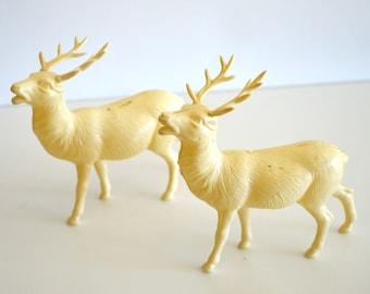 Vintage Celluloid Elk Deer Figurines Set of Two