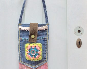 Small Boho Denim Crossbody Bag for Phone, Fringed for Fun, Pink, Green and Teal Colors